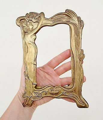 Beautiful Art Nouveau Style Brass Photo Picture Frame - Naked Woman & Flowers
