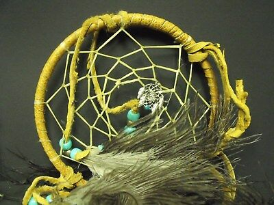 "Signed SISK Pewter Wolf Head & Turquoise Dream Catcher, 5"" Diameter"