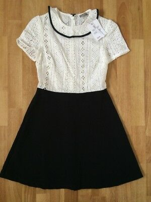 ASOS Women's Size UK 6 Dress Retro Style Peter Pan Collar Broiderie Anglaise NWT