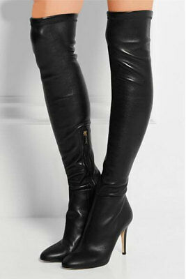 fea59d004f2  1790 JIMMY CHOO TONI Over the Knee Stretch Leather OTK Boots Bootie ...