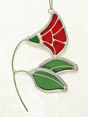 Vintage Stained / Leaded Glass Red Flower Sun Catcher Window Ornament
