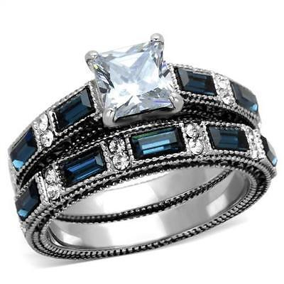 His Hers Blue Stainless Steel Princess CZ Wedding Engagement 3pc Ring Bridal Set