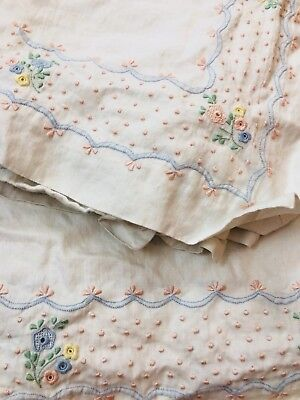 SALE! 1930's Embroidered 100% Irish Linen flat Sheet and 2 pillow cases Set 100""