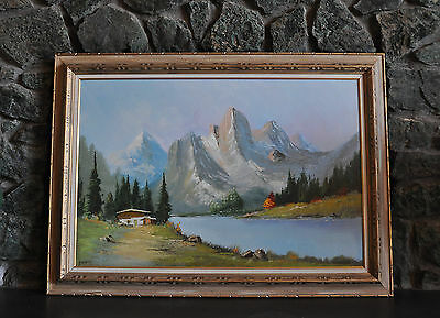 Large Vintage Painting - Sunrise Swiss Alps Mountain Landscape - Chalet On Lake