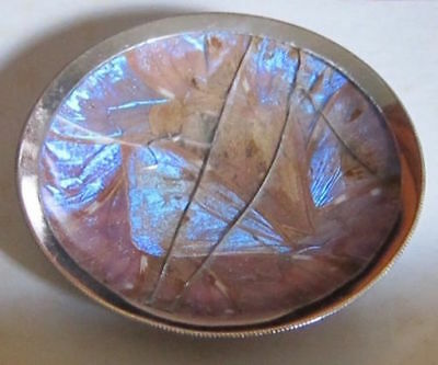 "Antique 1938 silver 3-1/2""ashtray coaster.Butterfly wings under glass.So.America"