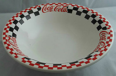 Gibson Coca Cola Diner Round Vegetable Bowl Red Black White Check Serving Piece