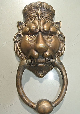 """small crown LION head heavy front Door Knocker SOLID BRASS vintage style 6.1/2""""B"""