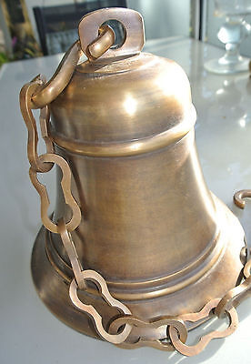 XL large nautical SHIP Door school Bell chain aged brass old style hang  21 cm B