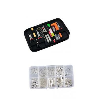 Silver Findings Jewelry Making Starter Kit Pliers Chain Cord Rings Tools Set