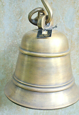 large Front Door school Bell chain solid brass 17 cm old aged style heavy hang B