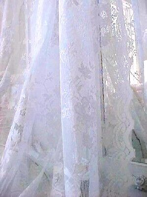 Shabby French White Vintage Roses Lace Cottage Chic Drape Curtain Panel 63 Long