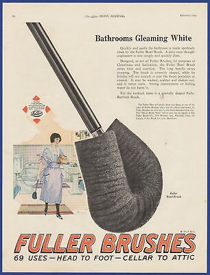 Vintage 1924 FULLER BRUSHES Head to Foot Cellar to Attic Art Decor Print Ad 20's