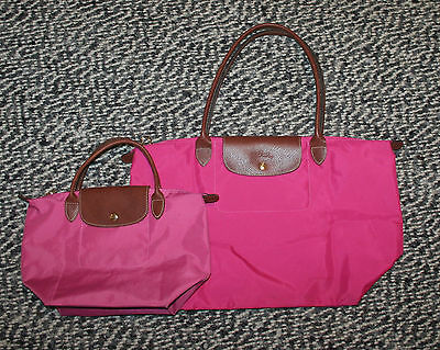 Lot of 2 Longchamp Le Pliage Pink Folding Tote Bags