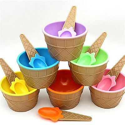 Children's Plastic Ice Cream Bowls Spoons Set Durable Ice Cream  Dessert BowN6T