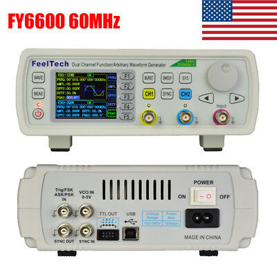 60MHz FeelTech FY6600 Dual Channel Arbitrary Pulse Waveform DDS Signal Generator
