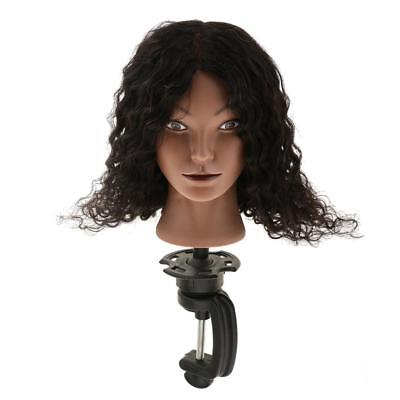 Human Hair Cosmetology Silicone Practice Mannequin Head + Wigs Making Clamp