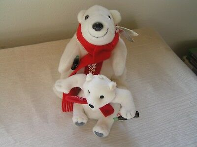 Lot of 2 Small White Polar Bear Bean Bag Plush with Red Coca-Cola Scarf & Bottle