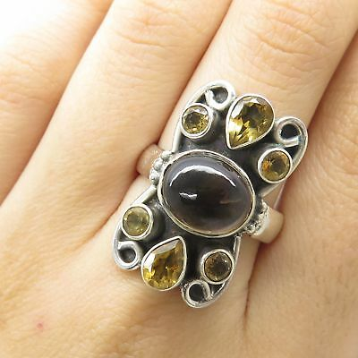 925 Sterling Silver Real Smoky Quartz Citrine Gemstone Wide Cluster Ring Size 8