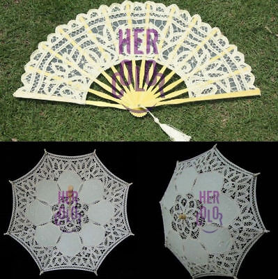 Lace Parasol Umbrella Hand Fan for Bridal Wedding Decoration Ivory Wedding Gift