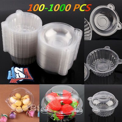 100-1000 Single Clear Plastic Cupcake Dome Favor Box Container Wedding Party