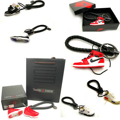 Air Jordan I IV 11 Yeezy Handcrafted 3D Sneaker Keychain with Box Bag Gift Set