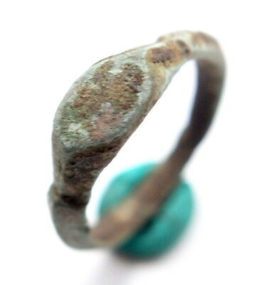 Ancient Old Medieval Bronze Ornament Ring (SEP35)