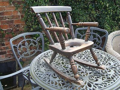 Antique childs potty rocking chair teddy bear dolls chair plant pot holder