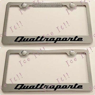 2X Maserati Quattroporte Stainless Steel Black License Plate Frame Rust Free