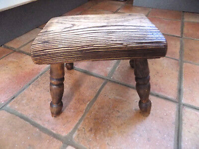 Small Victorian inglenook rustic oak stool for doll child decor display