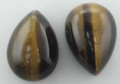 2 PIECES OF 14x10mm PEAR CABOCHON-CUT NATURAL AFRICAN GOLDEN TIGERS-EYE GEMS