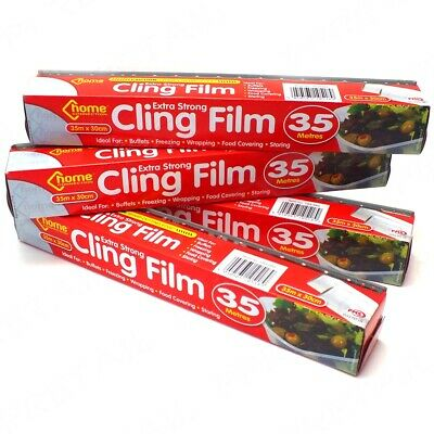 4 ROLLS LARGE CLING FILM 300mm Wide x 35M + CUTTER Long Bulk Kitchen Food Cover