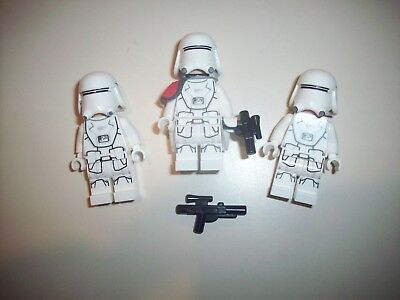 Lego Star Wars Minifigure ~ First Order Snowtrooper Officer & 2 Troopers 75100