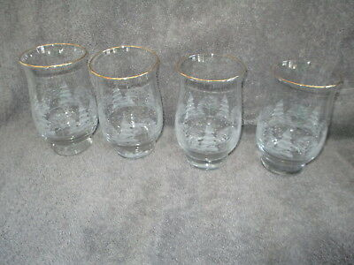 4 Arby's White Frosted Christmas Winter Scene Tulip Glasses 14 ounce