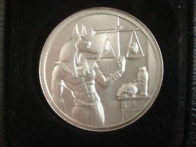 2  troy oz 999 fine silver EGYPTIAN GOD ANUBIS (BOXED) ULTRA HIGH RELIEF. 2016