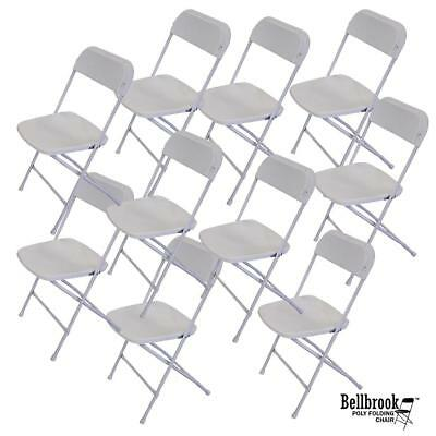 White Plastic with Steel Legs Folding Chair (Box of 10 Chairs)