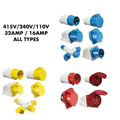 Industrial Plugs Sockets 415V 240V 110V Full Range Ip44 16/32A One Shipping Cost
