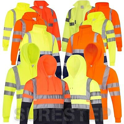 Hi-Viz Hoodies Zipped or Unzipped High Visibility Sweaters, Fleeces |S-3XL|