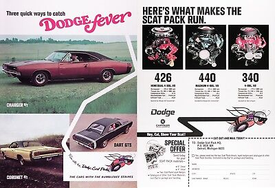 1968 DODGE SCAT PACK Genuine Vintage Advertisement ~ CHARGER DART CORONET
