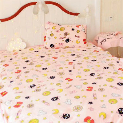 Anime Sailor Moon Flannel Throws Warm Air Conditioner Blanket Pillowcase Pink