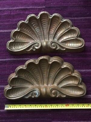 Pair of Antique Copper Shells Architectural Salvage Wall Decor Vintage