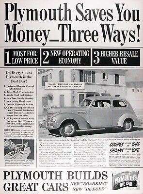 1939 PLYMOUTH 2-DOOR Genuine Vintage Advertisement ~ MSRP $645