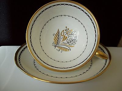 "Crown Staffordshire Bone China Teacup & Saucer ""Blackstone""  Made in England"