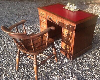 REDUCED . 19th C. VICTORIAN OAK PEDESTAL DESK. RED LEATHER TOP BRASS HANDLES