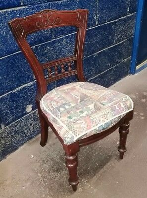 ~Antique ~Vintage ~Victorian? ~Chair ~Turned Legs ~Upholstered Seat ~VGC~
