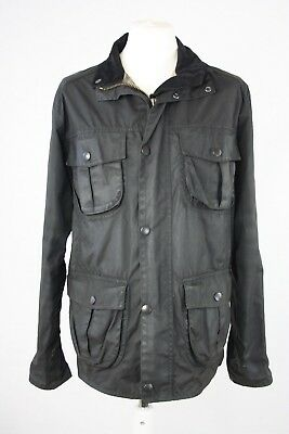 Barbour Mens Waxed Black Utility Jacket Coat A419 Size Large