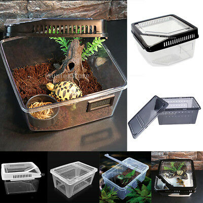 Transparent Plastic Box Insect Reptile Hide Cave Transport Breeding Feeding Case