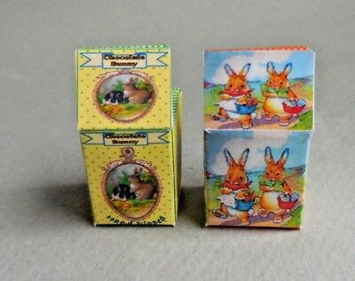 Dollhouse Miniature ~ Easter ~ Pair Of Easter Bunny Boxes
