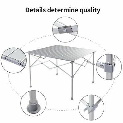 Portable Folding Aluminum Picnic Camping Table Roll-Up Indoor Outdoor Carry Bag