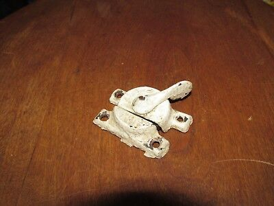Good Antique Victorian Cast Metal Window Sash Lock & Keeper in old White Paint
