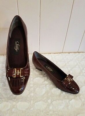 3a6054452b0 Women s Selby Comfort Flex Heels Pumps Size 7.5 2A Brown Patent Leather Bow  EUC